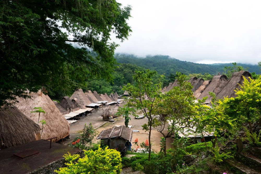 Hileras de casa tradicionales con el tejado de paja.