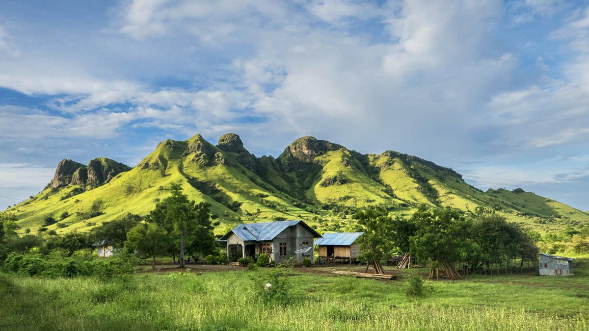 Montañas verdes de la isla de flores con una casita en primer término.
