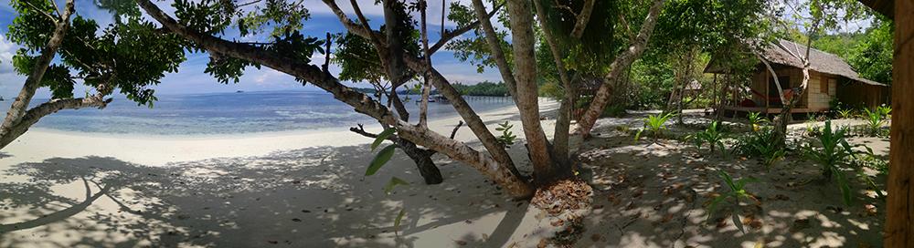 Playa paradisiaca en raja Ampat unos árboles en primer término dan sombra bajo la arena de la playa Organizar un viaje.