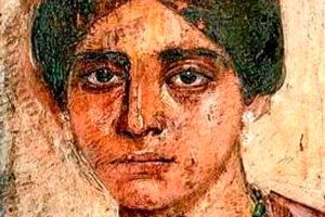 Cara de Egeria en pintura de pincelada gruesa. La primera viajera.