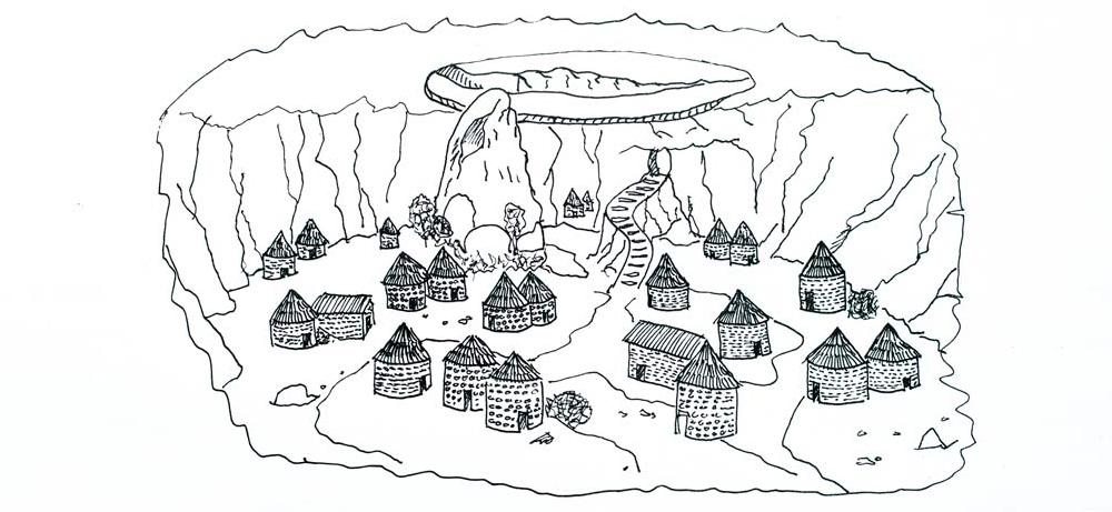 Dibujo de las casas de la civilización Nurágica.