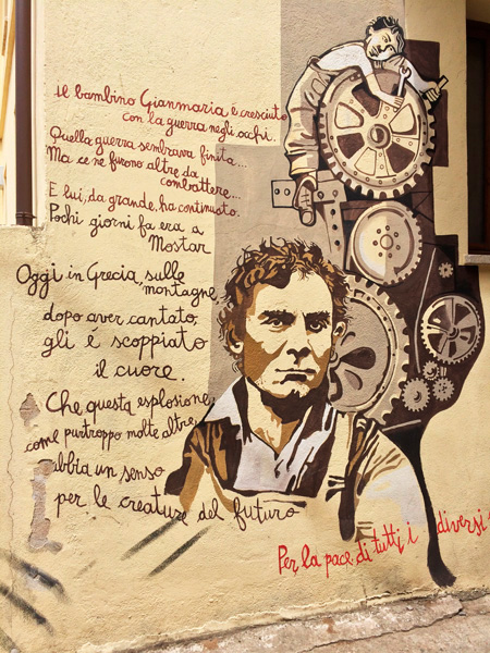Gian Maria Volonté, gran actor italiano representado en este mural. Orgosolo. Cerdeña