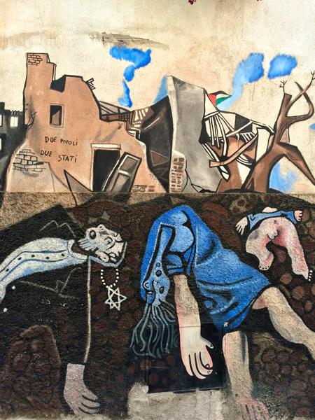 Mural bélico con bombas y cadáveres. Orgosolo. Cerdeña