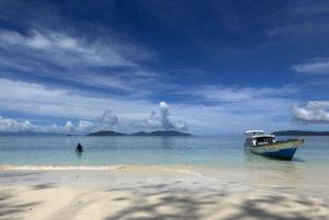 Playa paradisíaca. Buceo en Raja Ampat. Papúa. Indonesia