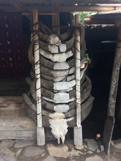 Cuernos de búfalo decorando la entrada de una cabaña. RUTA ISLA DE FLORES. INDONESIA. VIAJE EN MOTO 5 ETAPAS