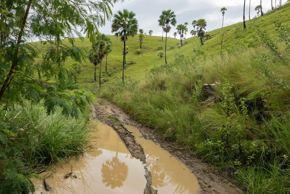 Camino lleno de agua y barro. RUTA ISLA DE FLORES. INDONESIA. VIAJE EN MOTO 5 ETAPAS