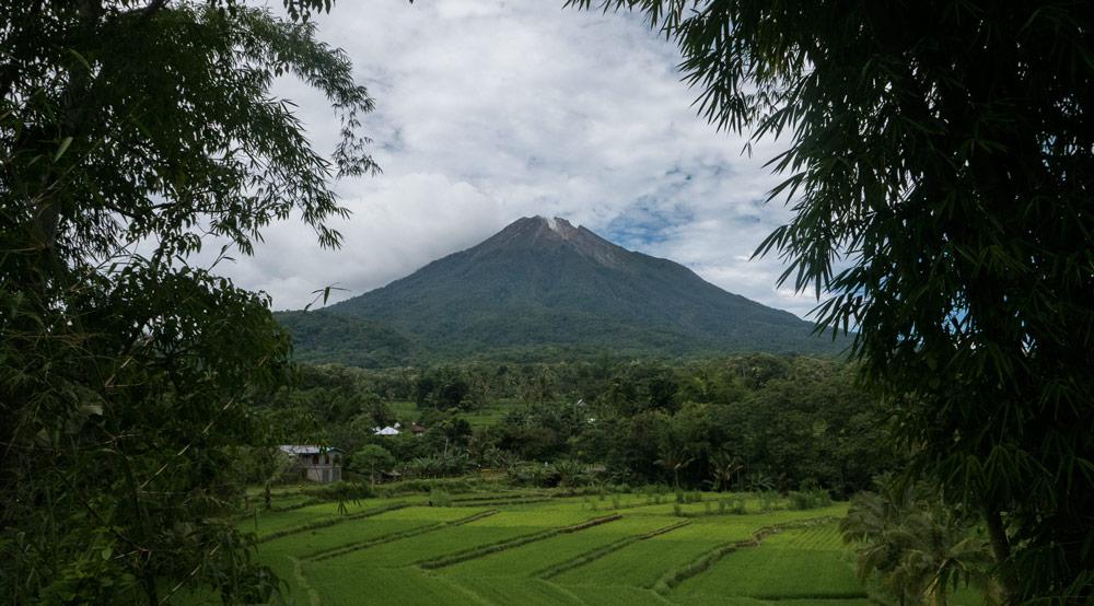 Vista del volcán Amboerombo con arrozales en su base. RUTA ISLA DE FLORES. INDONESIA. VIAJE EN MOTO 5 ETAPAS
