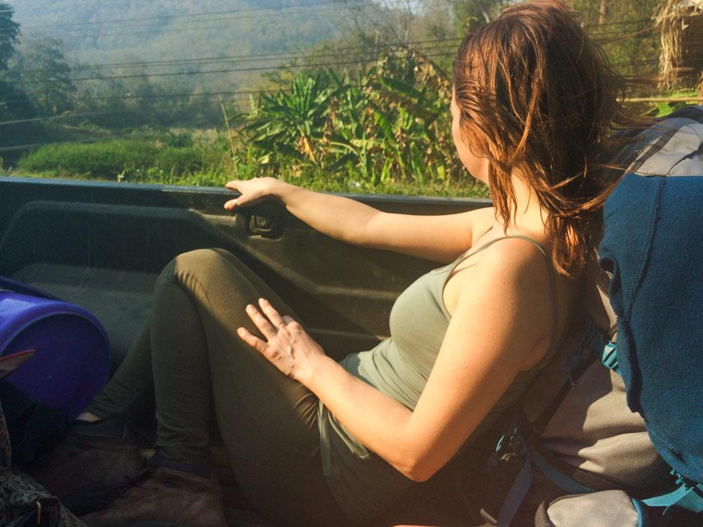 Viajando en la parte trasera de una furgoneta - perder el rumbo