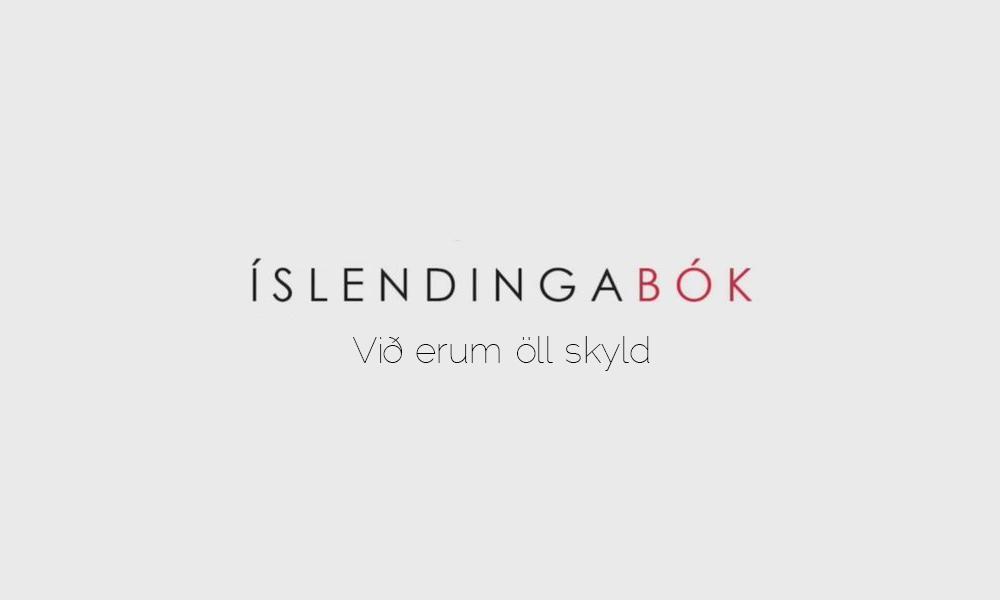 El nombre de Íslendingabók en fondo gris con un lema que dice: todos somos familia en islandés. Perder el Rumbo