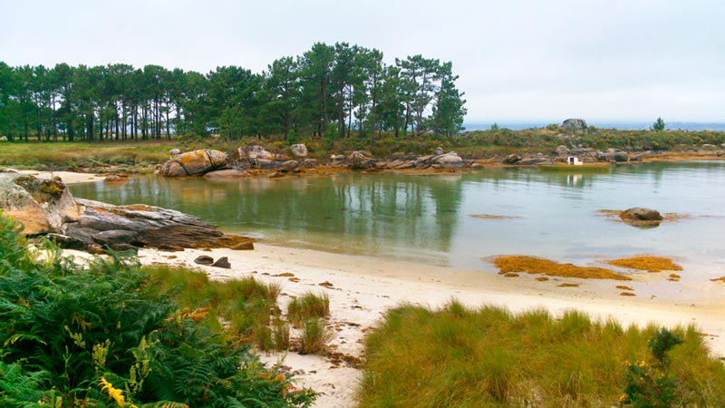 Playa del Parque de Carreirón con aguas tranquilas y cristalinas. 20 lugares que ver en Galicia imprescindibles. Perder el Rumbo