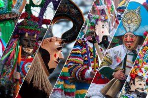 Fotografías dividida en seis partes donde se ven difernte máscaras del Entroido en Galicia. Perder el Rumbo