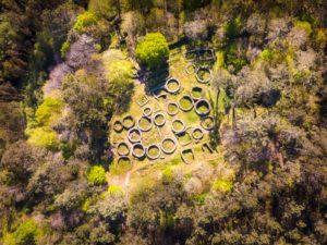 Vista aérea del Castro de Borneiro. Bases circulares de las casas rodeados de vegetación.Castro de Borneiro, un lugar mágico en Cabana de Bergantiños